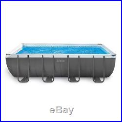 Intex 18ft X 9ft X 52in Ultra Frame Rectangular Pool Set with Sand Filter Pump