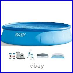 Intex 18ft x 48in Easy Set Pool Set With Filter Pump Ladder Cloth & Cover / NEW