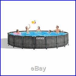 Intex 18ft x 48in Greywood Prism Steel Frame Pool Set with Cover, Ladder, & Pump