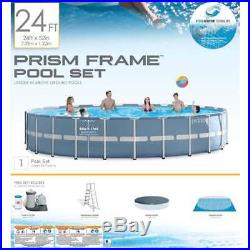 Intex 24'x52 Prism Frame Pool withLadder & Pump+Intex Inflatabull Float(Open Box)