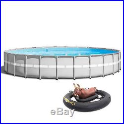 Intex 26' x 52 Ultra Frame Above Ground Pool Set Pump, Ladder, & Inflatabull
