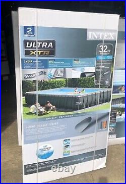 Intex 32ft x 16ft x 52in Rectangular Pool with Sand Filter Pump Saltwater System
