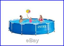 Intex Pool 12ft x 30ft Ground Metal Frame Above with Filter Pump
