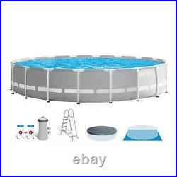Intex Prism Frame Round 18 Foot x 48 Inch Pool Set with Filter and Pump