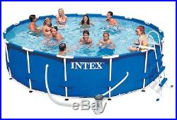 Intex Swimming Pool 15ft X 48in Metal Frame Above Ground Pool Filter Pump, Cover