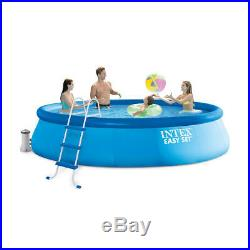 NEW INTEX 15' x 42 EASY SET UP SWIMMING POOL with FILTER PUMP LADDER & POOL COVER
