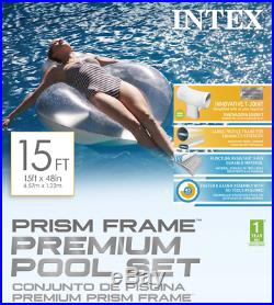 NEW Intex 26725EH 15ft x 48in Prism Frame Swimming Pool with Pump + Ladder + Cover