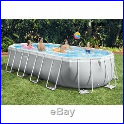 Oval Frame Above Ground Swimming Pool Set 20' x 10' x 48 Ladder Cover & Pump