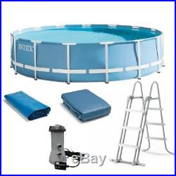 Round Above Ground Swimming Pool withFilter Pump Ground Cover Ladder 15' X 42